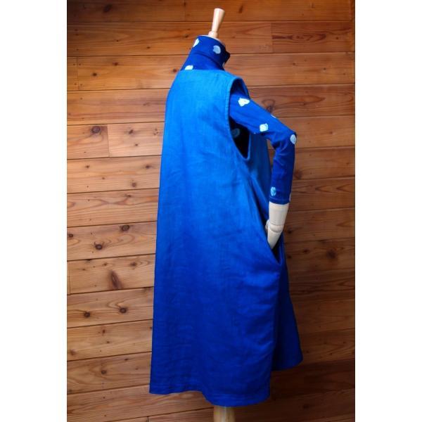 藍染め手染めのジャンバースカート|yatsugatakestyle|06