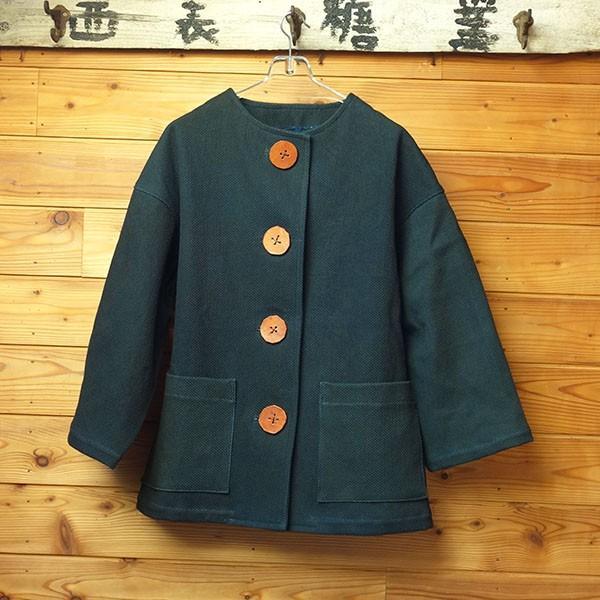 大きなボタン 藍染 柿渋染 レディース 柔道着 刺し子のジャケット yatsugatakestyle