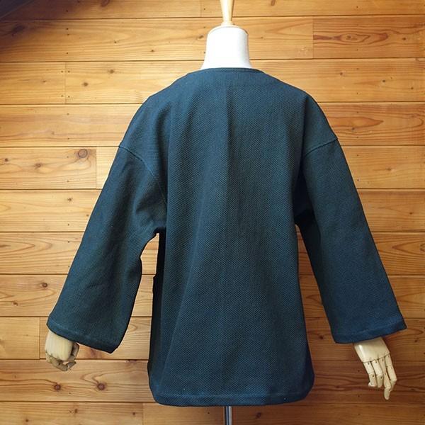 大きなボタン 藍染 柿渋染 レディース 柔道着 刺し子のジャケット yatsugatakestyle 02