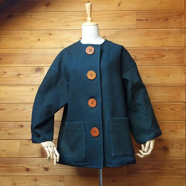 大きなボタン 藍染 柿渋染 レディース 柔道着 刺し子のジャケット yatsugatakestyle 03
