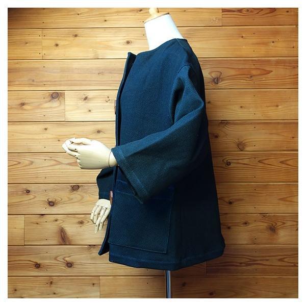 大きなボタン 藍染 柿渋染 レディース 柔道着 刺し子のジャケット yatsugatakestyle 05