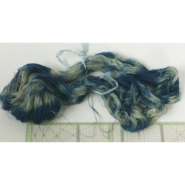 リネンと綿のスラブ糸の絣風藍染糸|yatsugatakestyle