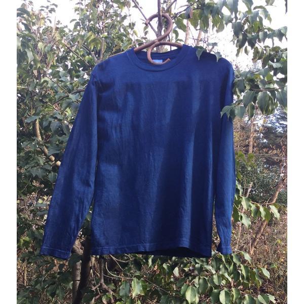 藍染手染め 長袖Tシャツ・メンズにもレディースにも|yatsugatakestyle|02