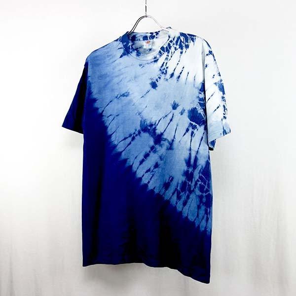 藍染Tシャツ 上半分丸絞り手染めグラデーション メンズにもレディースにもOK yatsugatakestyle