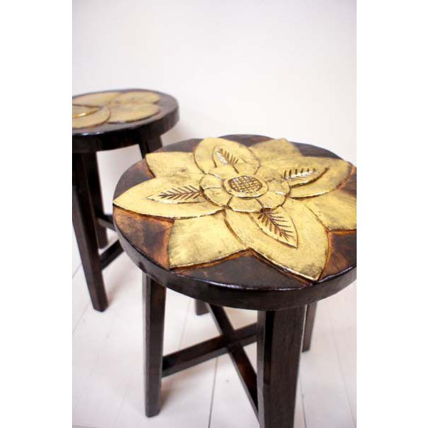アジアン家具 (アジアン エスニック) スツール 木製 チェア イス 子供 椅子 花台 バリ島のお花モチーフ ウッドスツール|yayapapus-y