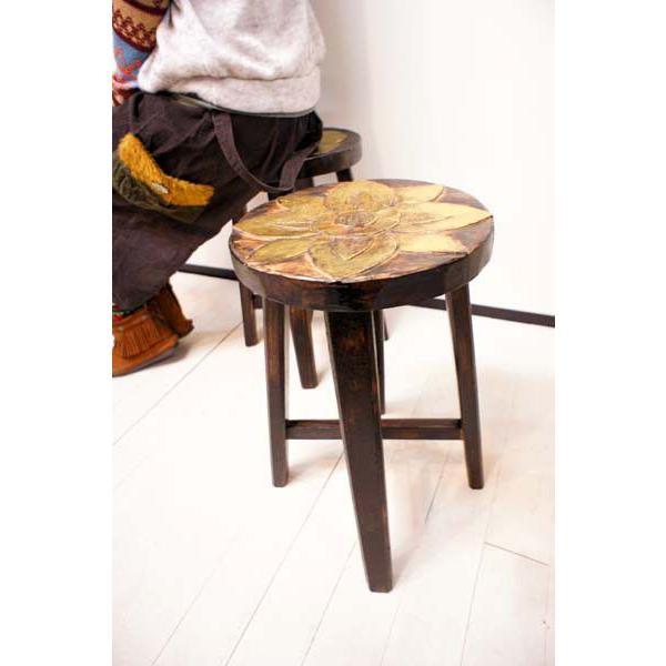 アジアン家具 (アジアン エスニック) スツール 木製 チェア イス 子供 椅子 花台 バリ島のお花モチーフ ウッドスツール|yayapapus-y|02