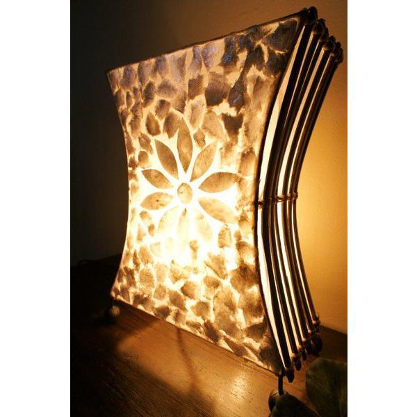 間接照明 スタンドライト ♪シェルとバンブーのシルエットランプ(S)♪ アジアン照明 バリ おしゃれ フロアスタンド エスニック  ギフト|yayapapus-y