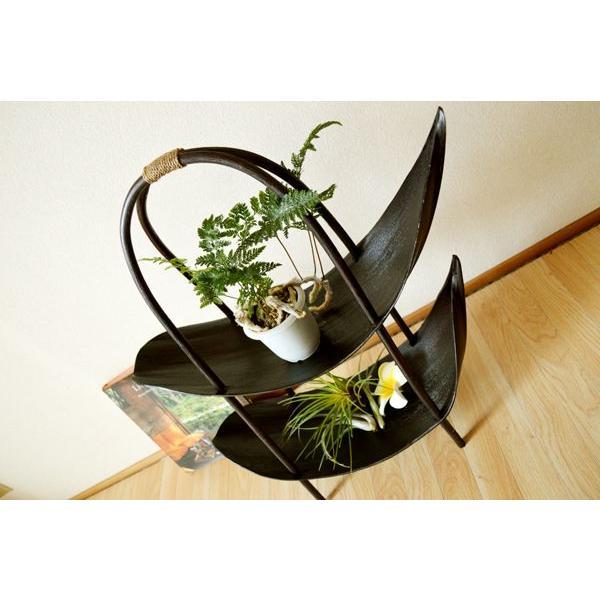 アジアン雑貨 バリ ♪ラタンアーチのヤシリーフトレイ(2段ダークブラウンカラー)♪ トレイ 小物入れ 花器 プランター ウッドラック 棚 エスニック yayapapus-y