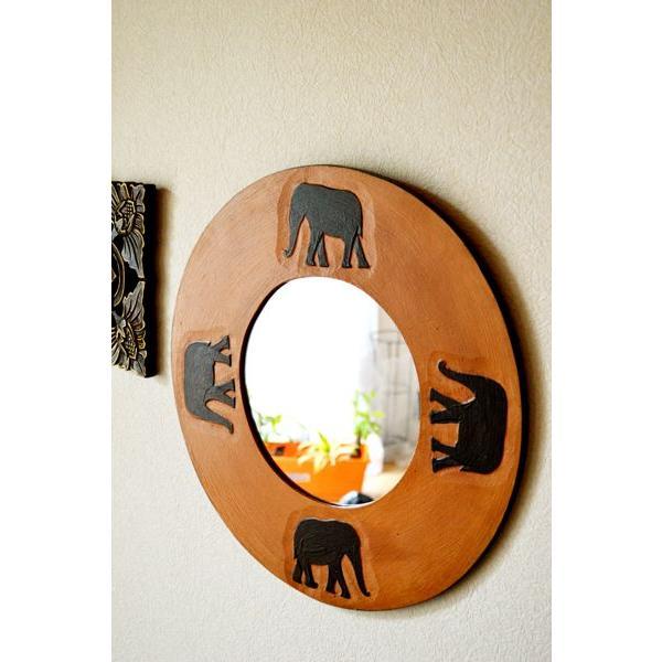 アジアン雑貨 バリ ♪ゾウのミラー(ラウンドタイプ)♪ 鏡 壁掛け ミラー 丸 ゾウ 木製 エスニック yayapapus-y