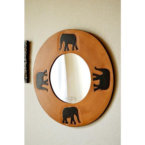 アジアン雑貨 バリ ♪ゾウのミラー(ラウンドタイプ)♪ 鏡 壁掛け ミラー 丸 ゾウ 木製 エスニック yayapapus-y 02