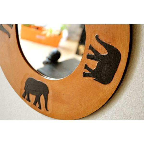 アジアン雑貨 バリ ♪ゾウのミラー(ラウンドタイプ)♪ 鏡 壁掛け ミラー 丸 ゾウ 木製 エスニック yayapapus-y 03