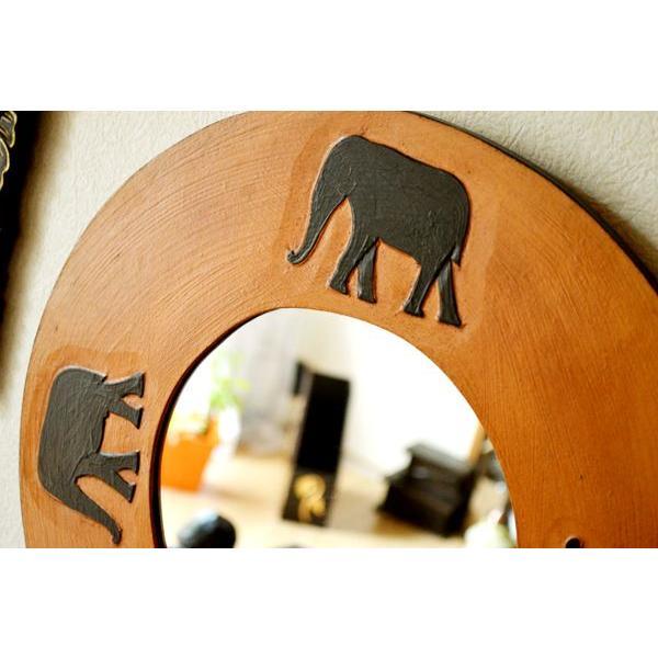 アジアン雑貨 バリ ♪ゾウのミラー(ラウンドタイプ)♪ 鏡 壁掛け ミラー 丸 ゾウ 木製 エスニック yayapapus-y 04
