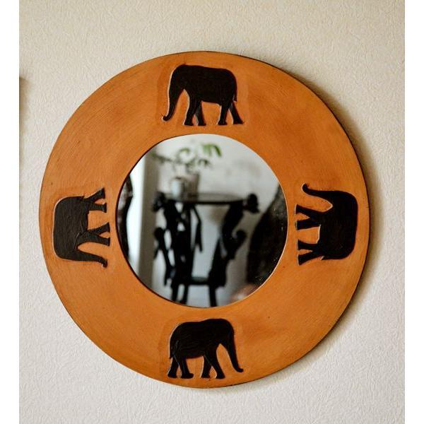 アジアン雑貨 バリ ♪ゾウのミラー(ラウンドタイプ)♪ 鏡 壁掛け ミラー 丸 ゾウ 木製 エスニック yayapapus-y 05