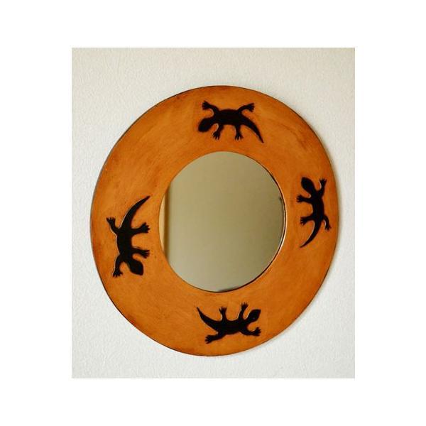アジアン雑貨 バリ ♪トカゲのミラー(ラウンドタイプ)♪ 鏡 壁掛け ミラー 丸 トカゲ 木製 エスニック|yayapapus-y|02