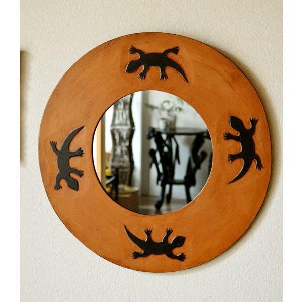 アジアン雑貨 バリ ♪トカゲのミラー(ラウンドタイプ)♪ 鏡 壁掛け ミラー 丸 トカゲ 木製 エスニック|yayapapus-y|03
