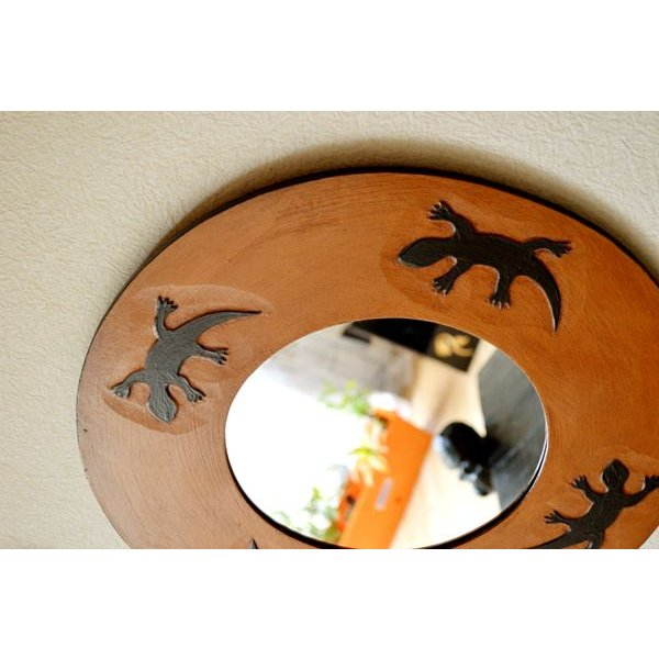 アジアン雑貨 バリ ♪トカゲのミラー(ラウンドタイプ)♪ 鏡 壁掛け ミラー 丸 トカゲ 木製 エスニック|yayapapus-y|04