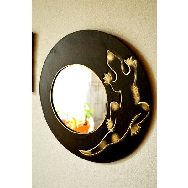 アジアン雑貨 バリ ♪ゴールドトカゲのミラー(ラウンドタイプ)♪ 壁掛けミラー 丸 壁掛け鏡 木製 エスニック|yayapapus-y