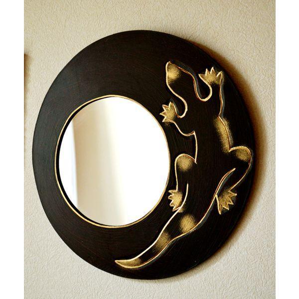 アジアン雑貨 バリ ♪ゴールドトカゲのミラー(ラウンドタイプ)♪ 壁掛けミラー 丸 壁掛け鏡 木製 エスニック|yayapapus-y|02
