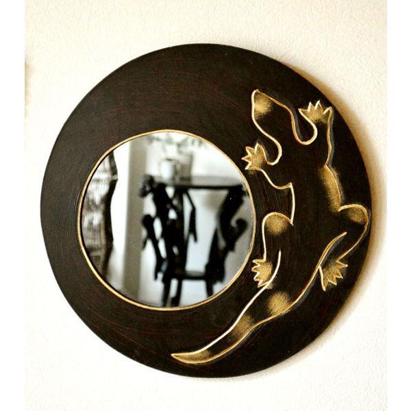 アジアン雑貨 バリ ♪ゴールドトカゲのミラー(ラウンドタイプ)♪ 壁掛けミラー 丸 壁掛け鏡 木製 エスニック|yayapapus-y|03