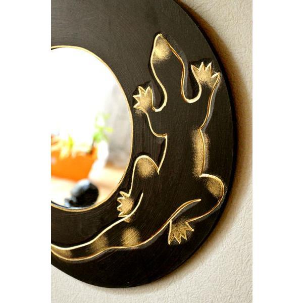 アジアン雑貨 バリ ♪ゴールドトカゲのミラー(ラウンドタイプ)♪ 壁掛けミラー 丸 壁掛け鏡 木製 エスニック|yayapapus-y|04
