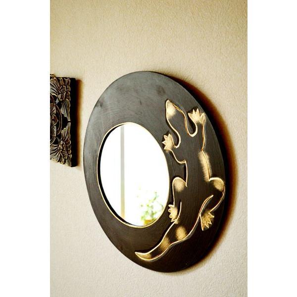 アジアン雑貨 バリ ♪ゴールドトカゲのミラー(ラウンドタイプ)♪ 壁掛けミラー 丸 壁掛け鏡 木製 エスニック|yayapapus-y|05