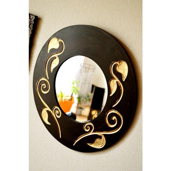 アジアン雑貨 バリ ♪スカルプリーフ柄のミラー(ラウンドタイプ)♪ 壁掛けミラー 丸 壁掛け鏡 木製 エスニック|yayapapus-y