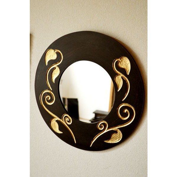 アジアン雑貨 バリ ♪スカルプリーフ柄のミラー(ラウンドタイプ)♪ 壁掛けミラー 丸 壁掛け鏡 木製 エスニック|yayapapus-y|03