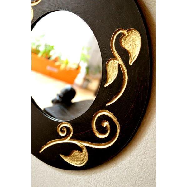 アジアン雑貨 バリ ♪スカルプリーフ柄のミラー(ラウンドタイプ)♪ 壁掛けミラー 丸 壁掛け鏡 木製 エスニック|yayapapus-y|04