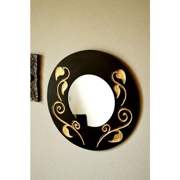 アジアン雑貨 バリ ♪スカルプリーフ柄のミラー(ラウンドタイプ)♪ 壁掛けミラー 丸 壁掛け鏡 木製 エスニック|yayapapus-y|05