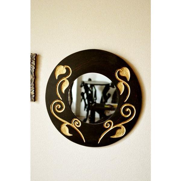 アジアン雑貨 バリ ♪スカルプリーフ柄のミラー(ラウンドタイプ)♪ 壁掛けミラー 丸 壁掛け鏡 木製 エスニック|yayapapus-y|06