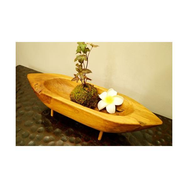 アジアン雑貨 バリ ♪古木チーク材 ナチュラルトレイ(ボート型)♪ 小物入れ トレイ 花器 フラワーベース 木製 エスニック|yayapapus-y