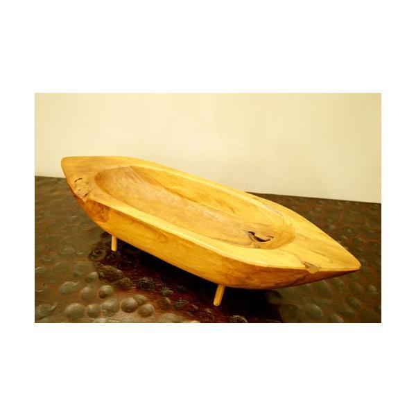 アジアン雑貨 バリ ♪古木チーク材 ナチュラルトレイ(ボート型)♪ 小物入れ トレイ 花器 フラワーベース 木製 エスニック|yayapapus-y|02