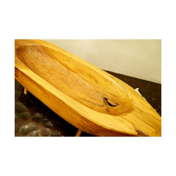 アジアン雑貨 バリ ♪古木チーク材 ナチュラルトレイ(ボート型)♪ 小物入れ トレイ 花器 フラワーベース 木製 エスニック|yayapapus-y|05