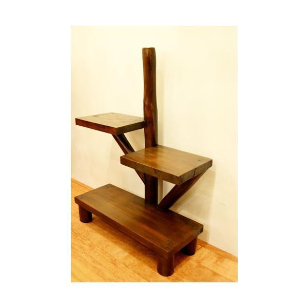 アジアン家具 バリ ♪AR3段テーブルラック(ダークブラウン)♪ ラック 棚 飾り棚 収納棚 木製 チーク材 エスニック|yayapapus-y