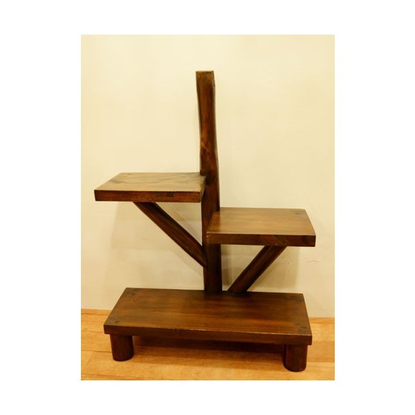アジアン家具 バリ ♪AR3段テーブルラック(ダークブラウン)♪ ラック 棚 飾り棚 収納棚 木製 チーク材 エスニック|yayapapus-y|04