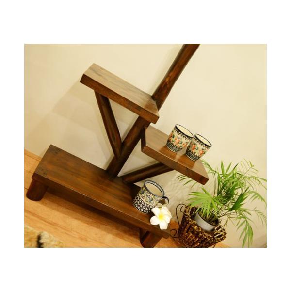 アジアン家具 バリ ♪AR3段テーブルラック(ダークブラウン)♪ ラック 棚 飾り棚 収納棚 木製 チーク材 エスニック|yayapapus-y|06