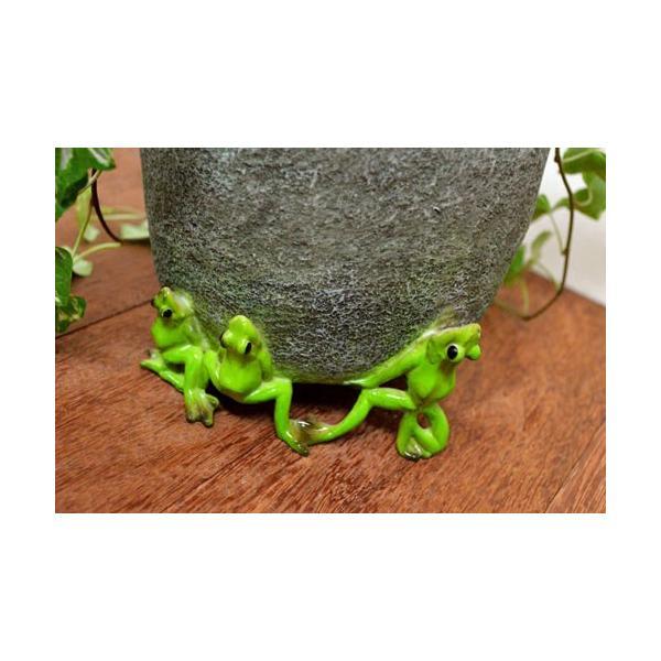 アジアン雑貨 バリ ♪石臼持上げ蛙達♪ 置物 オブジェ オーナメント プランター 花器 カエル 蛙 かえる グッズ エスニック|yayapapus-y|02