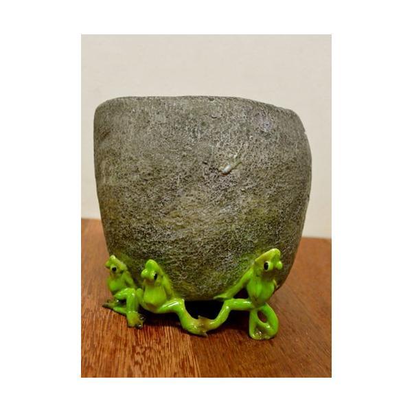 アジアン雑貨 バリ ♪石臼持上げ蛙達♪ 置物 オブジェ オーナメント プランター 花器 カエル 蛙 かえる グッズ エスニック|yayapapus-y|06