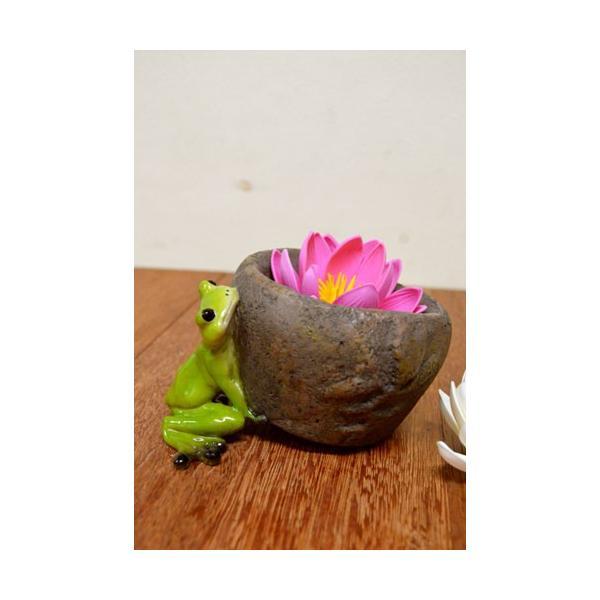 アジアン雑貨 バリ ♪持上げ蛙♪ 置物 オブジェ オーナメント プランター 花器 カエル 蛙 かえる グッズ エスニック|yayapapus-y
