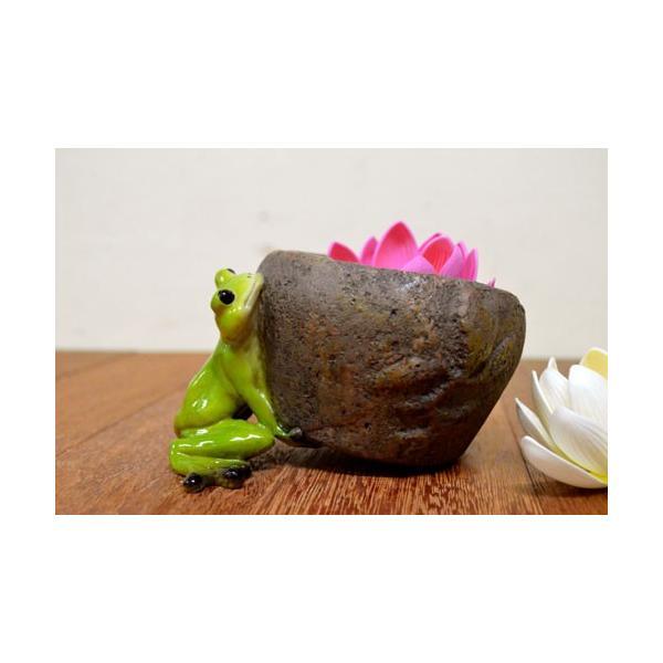 アジアン雑貨 バリ ♪持上げ蛙♪ 置物 オブジェ オーナメント プランター 花器 カエル 蛙 かえる グッズ エスニック|yayapapus-y|03