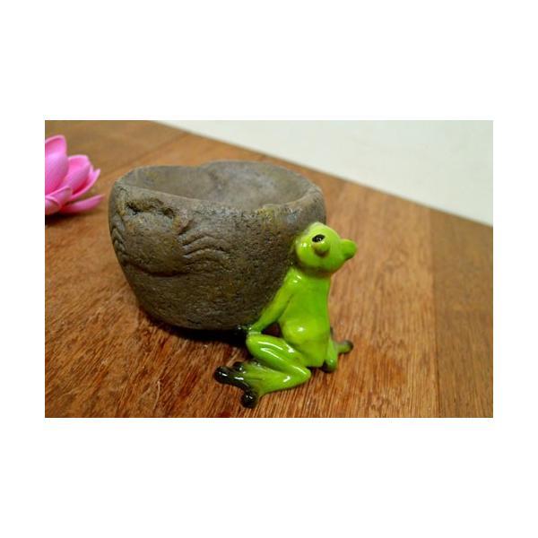 アジアン雑貨 バリ ♪持上げ蛙♪ 置物 オブジェ オーナメント プランター 花器 カエル 蛙 かえる グッズ エスニック|yayapapus-y|05