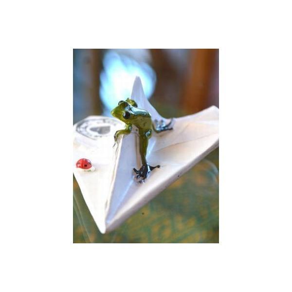 アジアン雑貨 バリ ♪ヒコーキカエル♪ 置物 オブジェ エスニック|yayapapus-y