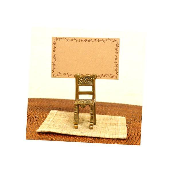 アジアン雑貨 バリ ♪真鍮 チェアーカードホルダー(角型)♪ 写真立て フォトスタンド カードクリップ エスニック|yayapapus-y|02