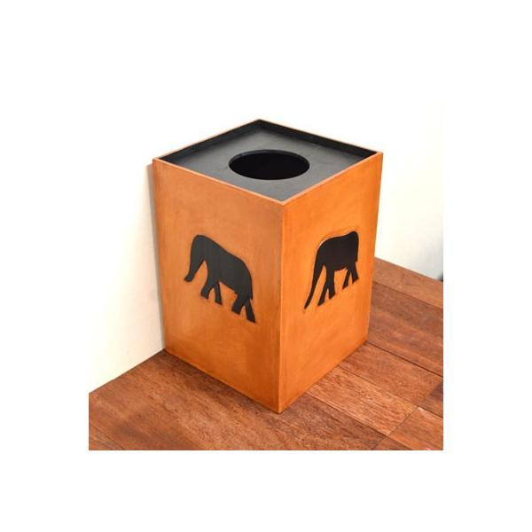 アジアン雑貨 バリ ♪アニマルダストボックス ゾウ♪ ごみ箱 木製 エスニック|yayapapus-y|03