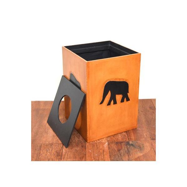 アジアン雑貨 バリ ♪アニマルダストボックス ゾウ♪ ごみ箱 木製 エスニック|yayapapus-y|05