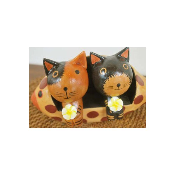 アジアン雑貨 バリ ♪魚ベンチカップルネコ♪ 置物 オブジェ オーナメント ネコ 猫 ねこ 結婚祝い 木製 エスニック|yayapapus-y