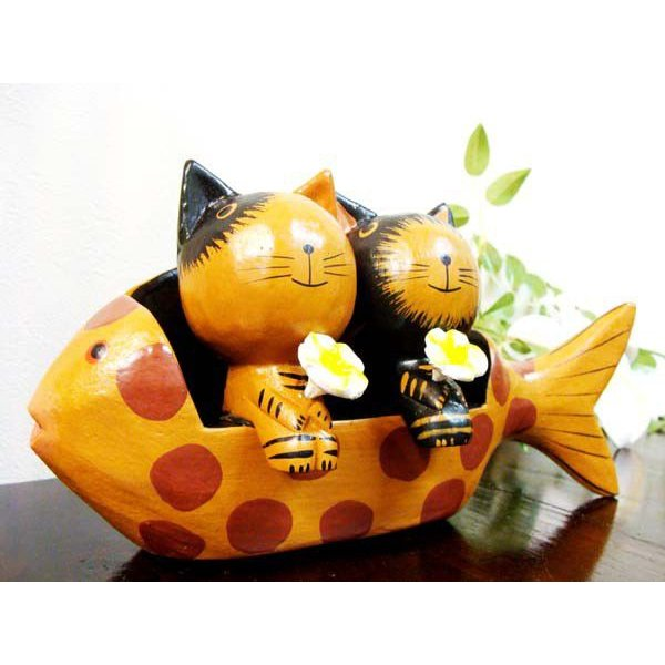 アジアン雑貨 バリ ♪魚ベンチカップルネコ♪ 置物 オブジェ オーナメント ネコ 猫 ねこ 結婚祝い 木製 エスニック|yayapapus-y|02