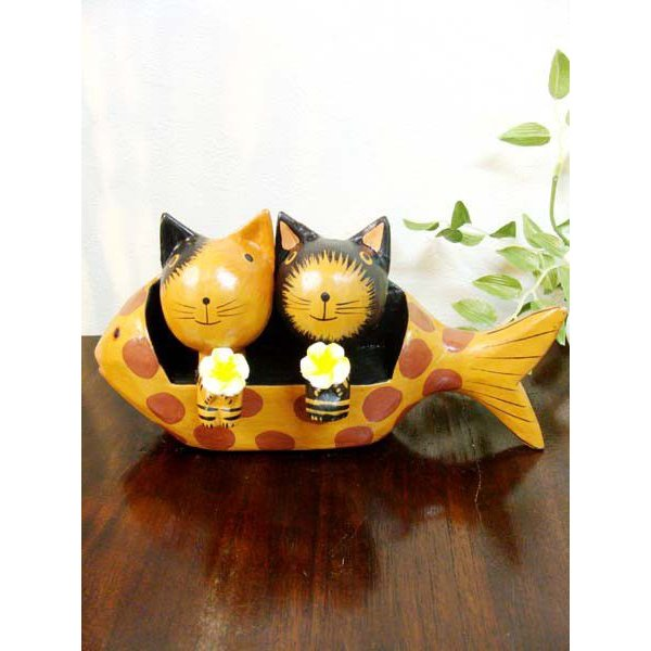 アジアン雑貨 バリ ♪魚ベンチカップルネコ♪ 置物 オブジェ オーナメント ネコ 猫 ねこ 結婚祝い 木製 エスニック|yayapapus-y|03