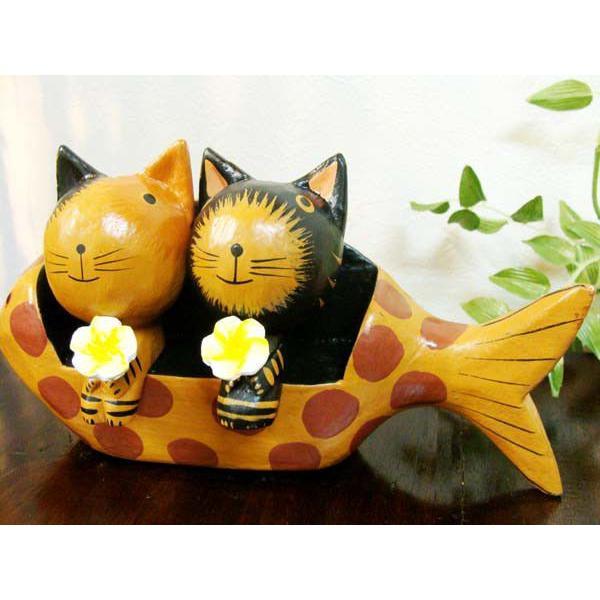 アジアン雑貨 バリ ♪魚ベンチカップルネコ♪ 置物 オブジェ オーナメント ネコ 猫 ねこ 結婚祝い 木製 エスニック|yayapapus-y|04