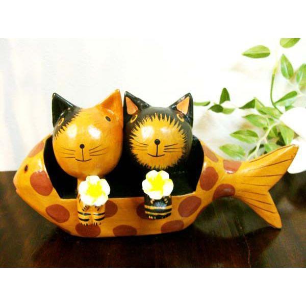 アジアン雑貨 バリ ♪魚ベンチカップルネコ♪ 置物 オブジェ オーナメント ネコ 猫 ねこ 結婚祝い 木製 エスニック|yayapapus-y|05